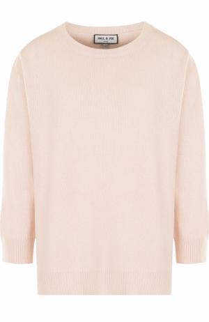 Кашемировый пуловер свободного кроя с укороченным рукавом Paul&Joe. Цвет: розовый
