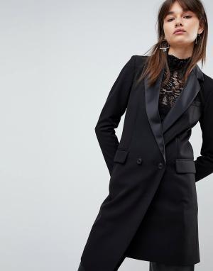 ASOS Удлиненный асимметричный блейзер-смокинг Premium Tailored Mansy. Цвет: черный