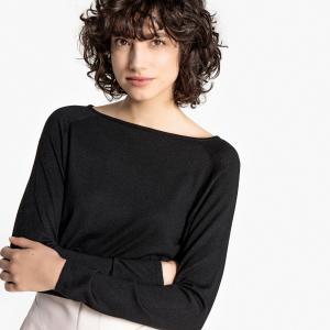 Пуловер с вырезом-лодочкой из тонкого трикотажа La Redoute Collections. Цвет: зеленый,розовый фуксия,серый,темно-бежевый,черный