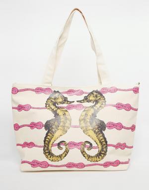 Thursday Friday Пляжная парусиновая сумка с принтом морских коньков. Цвет: белый