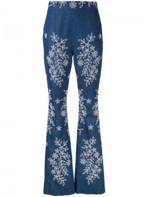 Расклешенные джинсы с вышивкой Huishan Zhang. Цвет: синий