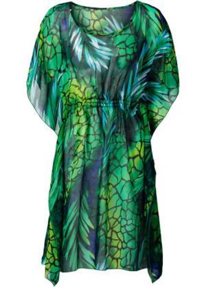 Пляжная туника (зеленый с рисунком) bonprix. Цвет: зеленый с рисунком