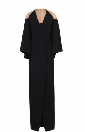 Платье-макси с запахом и длинными широкими рукавами Balmain. Цвет: черный