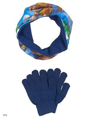Комплект шарф-труба и перчатки Sun City. Цвет: темно-синий