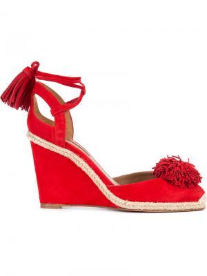 Туфли-лодочки на танкетке со шнуровкой Aquazzura. Цвет: красный