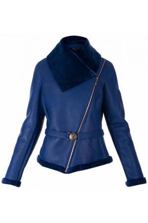 Кожаная дубленка с косой молнией Versace Collection. Цвет: синий