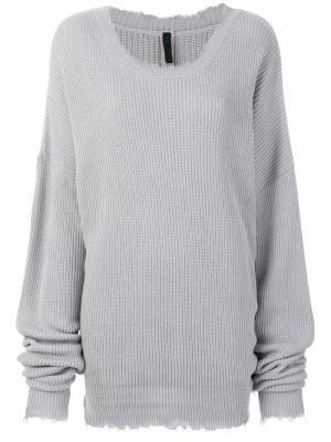 Трикотажный свитер в рубчик с бахромой Unravel Project. Цвет: серый