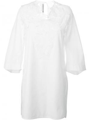 Платье с вышивкой Ermanno Scervino. Цвет: белый
