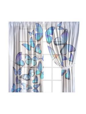 Тюль гостиный Бабочки Феерия Камея. Цвет: голубой