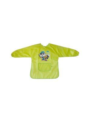 Фартук с карманом и длин рук 3-7 лет Idigo. Цвет: салатовый, золотистый, оливковый