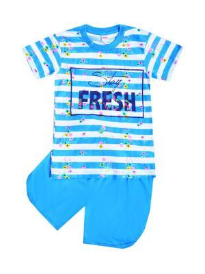 Комплект: футболка, шорты Sladikmladik. Цвет: голубой