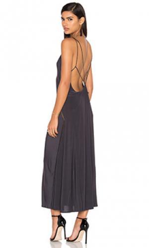 Платье с наборными бретельками OLCAY GULSEN. Цвет: уголь