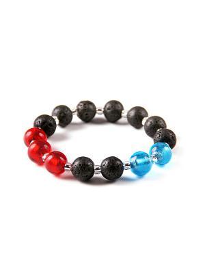 Браслет Flex, лава, красно-голубой Bottega Murano. Цвет: черный, голубой, красный