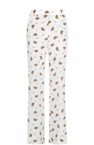 Шелковые брюки прямого кроя с принтом Dorothee Schumacher. Цвет: белый
