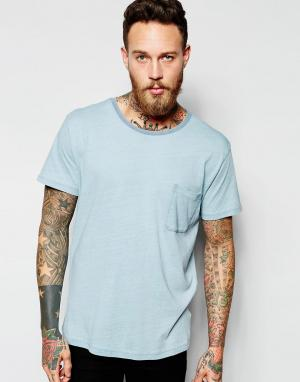 Dr Denim Голубая футболка Russ. Цвет: синий