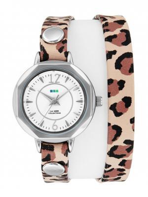 Часы La Mer Collections Del Mar Retro Leopard - Silver. Цвет: черный, бежевый, темно-коричневый