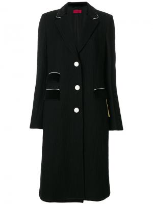 Длинное однобортное пальто The Gigi. Цвет: чёрный