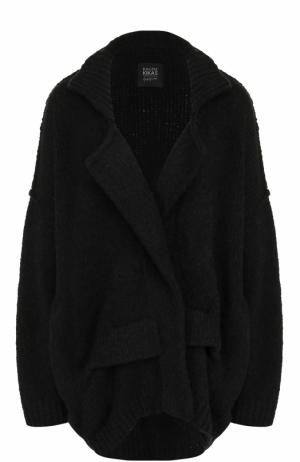Однотонный кардиган фактурной вязки Yohji Yamamoto. Цвет: черный
