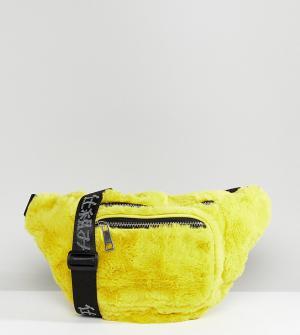 Shikumi Желтая сумка-кошелек на пояс из искусственного меха. Цвет: желтый