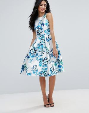 Forever Unique Короткое приталенное платье с цветочным принтом. Цвет: синий