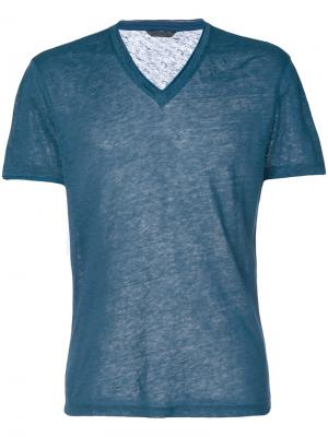 Deep V-neck t-shirt John Varvatos. Цвет: синий