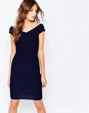 Lipstick Boutique Бандажное платье с открытыми плечами Ava. Цвет: темно-синий