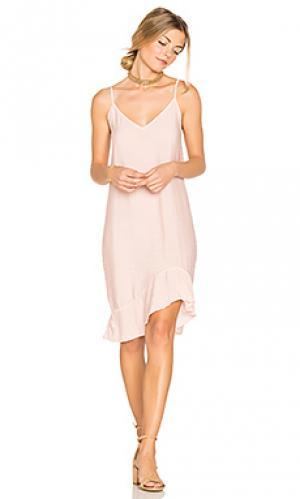 Платье-комбинация с рюшами LACAUSA. Цвет: розовый