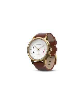 Умные часы vivomove Premium со стальным корпусом и кожаным ремешком золотистые GARMIN. Цвет: золотистый, коричневый