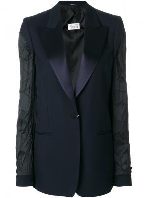 Пиджак с текстурными рукавами Maison Margiela. Цвет: синий