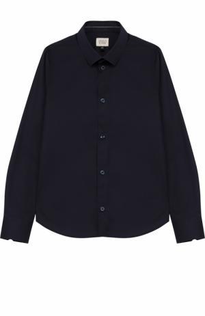 Хлопковая рубашка с логотипом бренда Armani Junior. Цвет: темно-синий