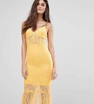 NaaNaa Кружевное платье с корсетом. Цвет: желтый