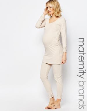 Amoralia Леггинсы для беременных. Цвет: кремовый