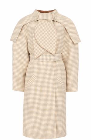Хлопковое пальто с поясом Vika Gazinskaya. Цвет: бежевый