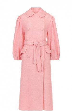 Буклированное пальто свободного кроя с широкими рукавами и поясом Simone Rocha. Цвет: розовый