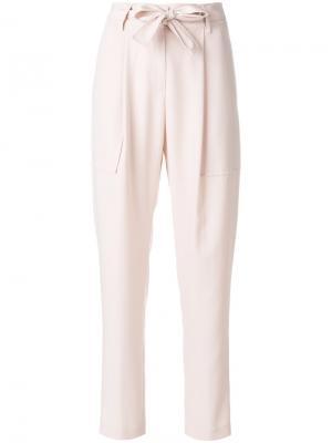 Прямые брюки с принтом Blumarine. Цвет: розовый и фиолетовый
