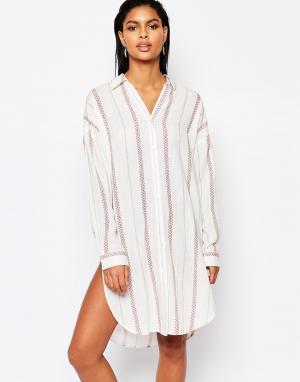 Moon River Платье-рубашка в полоску. Цвет: мульти