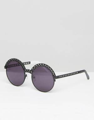 House of Holland Черные круглые солнцезащитные очки с плоскими стеклами Hollan. Цвет: черный