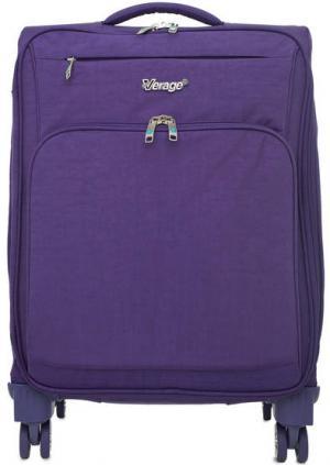 Фиолетовый текстильный чемодан на колесах Verage. Цвет: фиолетовый