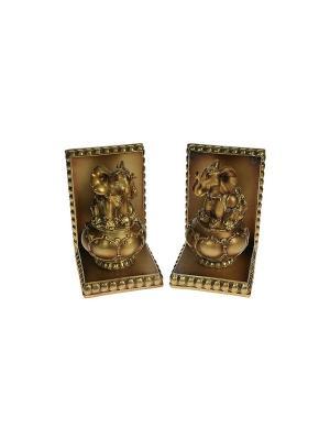 Комплект держателей для книг Слон из 2шт. Русские подарки. Цвет: темно-коричневый, бронзовый