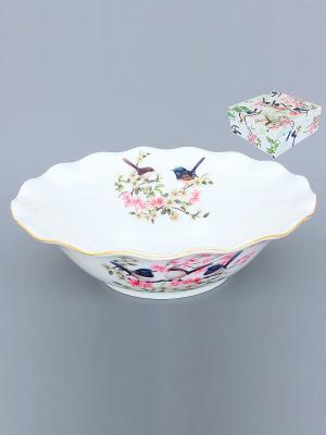 Конфетница-салатник Райские птички Elan Gallery. Цвет: синий, розовый, белый