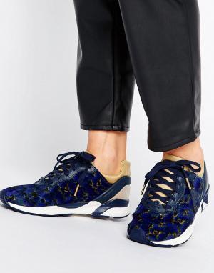 Le Coq Sportif Темно-синие кроссовки с цветочным принтом R Xvi. Цвет: красный