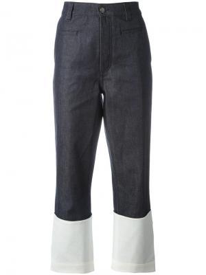 Ждинсовые брюки палаццо дизайна колор-блок Loewe. Цвет: синий