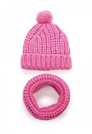 Комплект шапка и шарф снуд Fete. Цвет: розовый