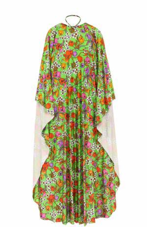 Платье-макси свободного кроя с ярким принтом Balenciaga. Цвет: зеленый