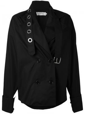 Двубортное пальто с лямками Marquesalmeida Marques'almeida. Цвет: чёрный
