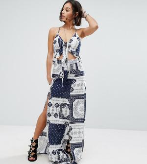Sisters of the Tribe Платье макси с завязками и двумя высокими разрезами Tri. Цвет: мульти