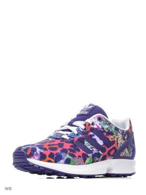 Кроссовки дет. спорт. ZX FLUX J CPURPL/CPURPL/FTWWHT Adidas. Цвет: фиолетовый, белый, красный
