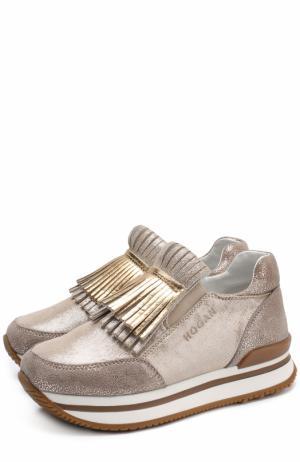 Кроссовки из металлизированной кожи с бахромой Hogan. Цвет: золотой