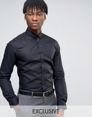 Noak Суперузкая рубашка с длинными рукавами и закругленным низом. Цвет: черный