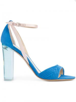 Босоножки на прозрачном каблуке Monique Lhuillier. Цвет: синий